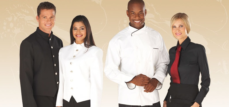May đồng phục đầu bếp, phục vụ phòng
