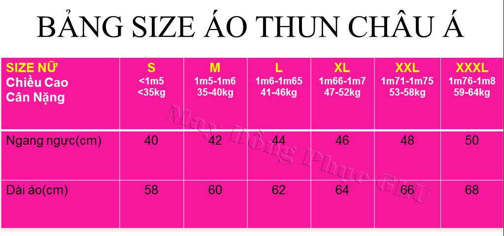 O THUN NỮ 2 cách đo size áo thun