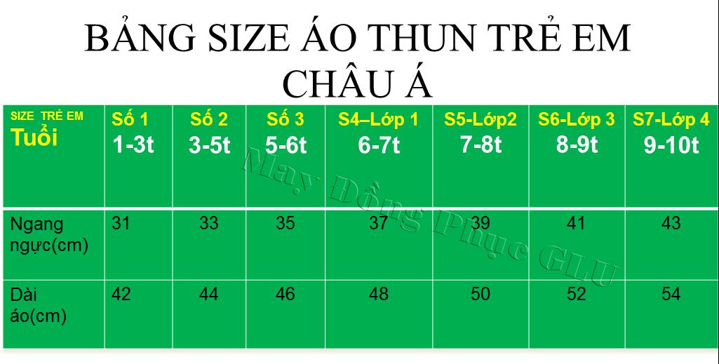 Bảng size may áo thun trẻ em Châu Á