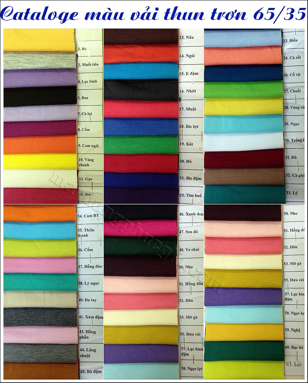 Catalogue màu vải thun trơn 65/35
