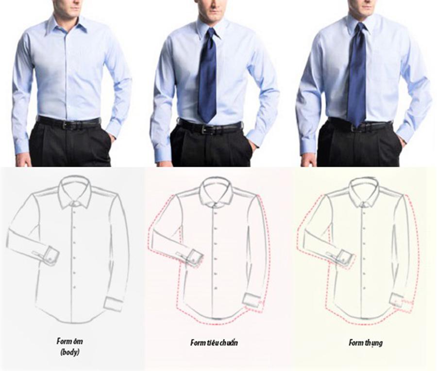 3 form áo sơ mi phổ biến