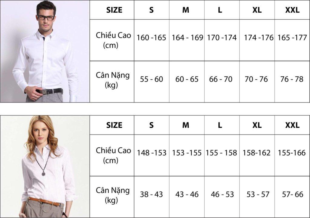 Chọn Size áo dựa theo cân nặng và chiều cao