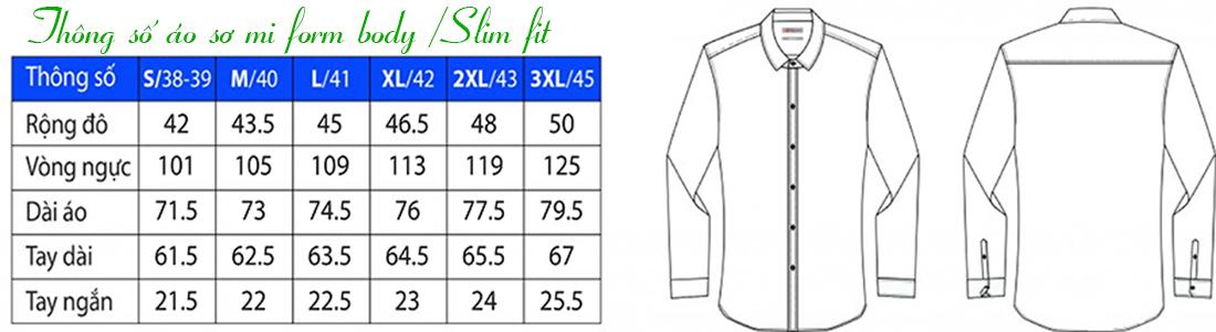 Thông số áo sơ mi form body / Slim fit