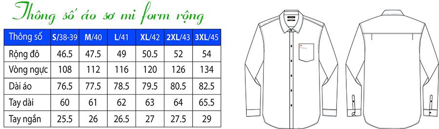 Thông số áo sơ mi form rộng / Relax fit / classic