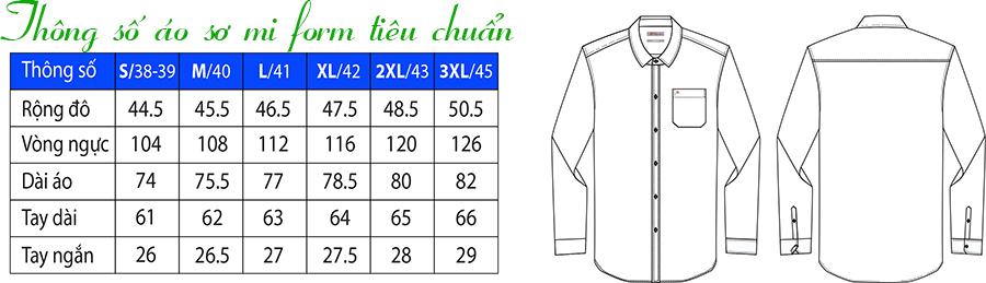 Thông số áo sơ mi form tiêu chuẩn / Regular fit