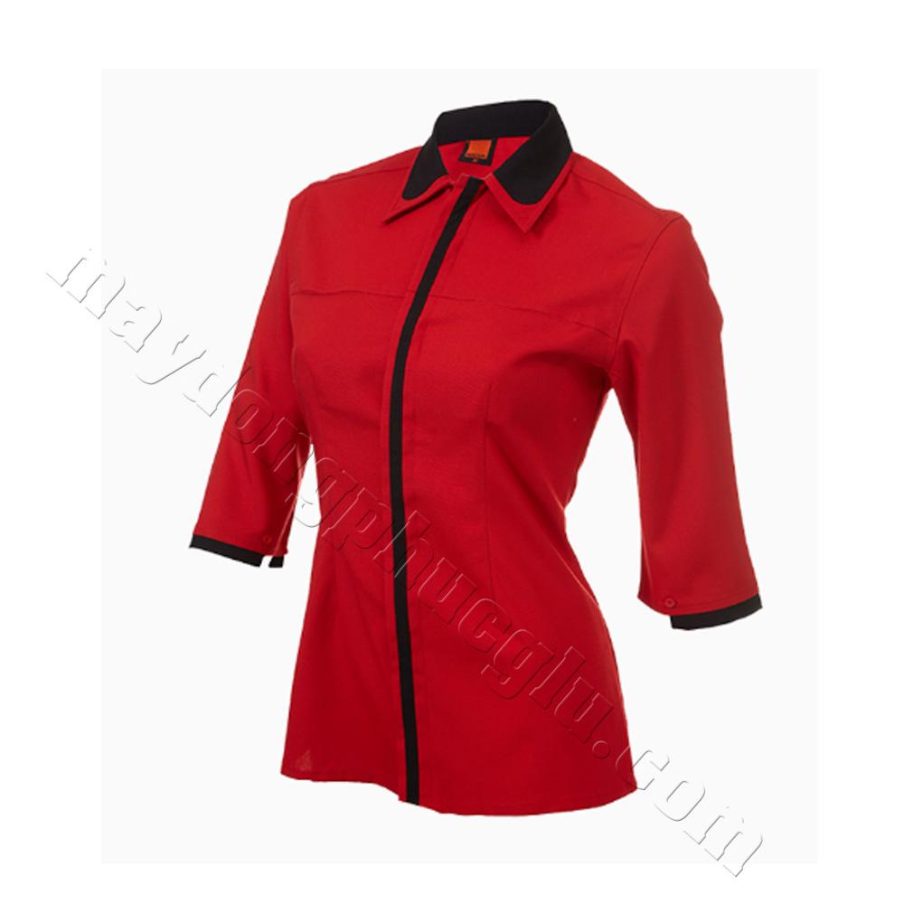 Mẫu thiết kế áo sơ mi đồng phục nữa đỏ phối đen