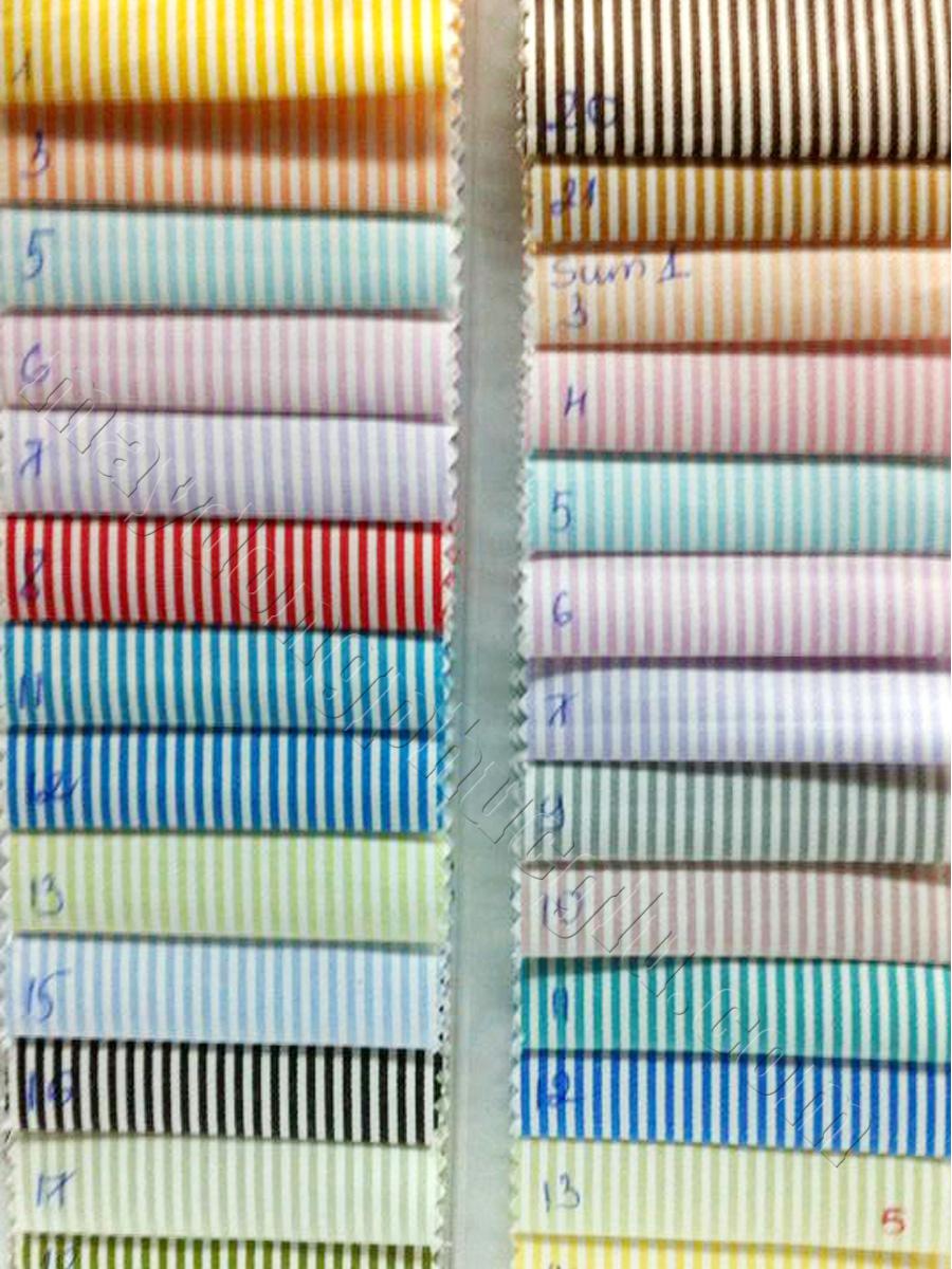Vải kate thường sọc trắng với các tông màu thông dụng