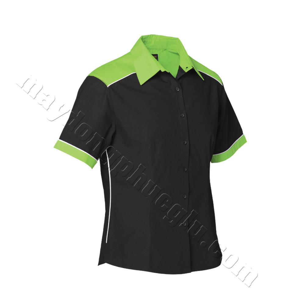 Mẫu thiết kế áo sơ mi đồng phục đen phối vai, cổ, tay bo xanh chuối