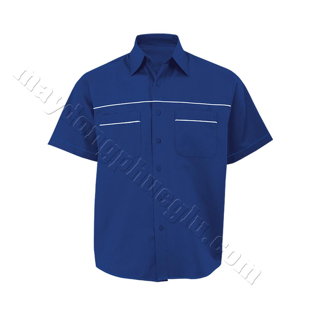Sơ mi đồng phục xanh lam phối đường gân trắng ở ngực và 2 túi áo