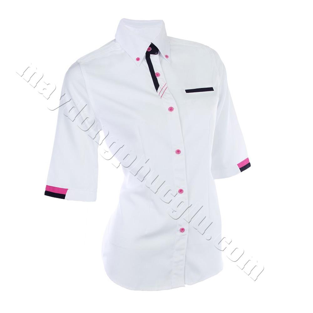 Sơ mi đồng phục trắng phối ở tay bo, cổ và túi áo