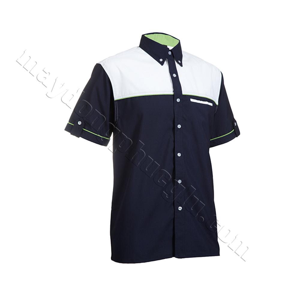 Sơ mi đồng phục thân áo xanh đen phối với vai áo và ngực áo màu trắng
