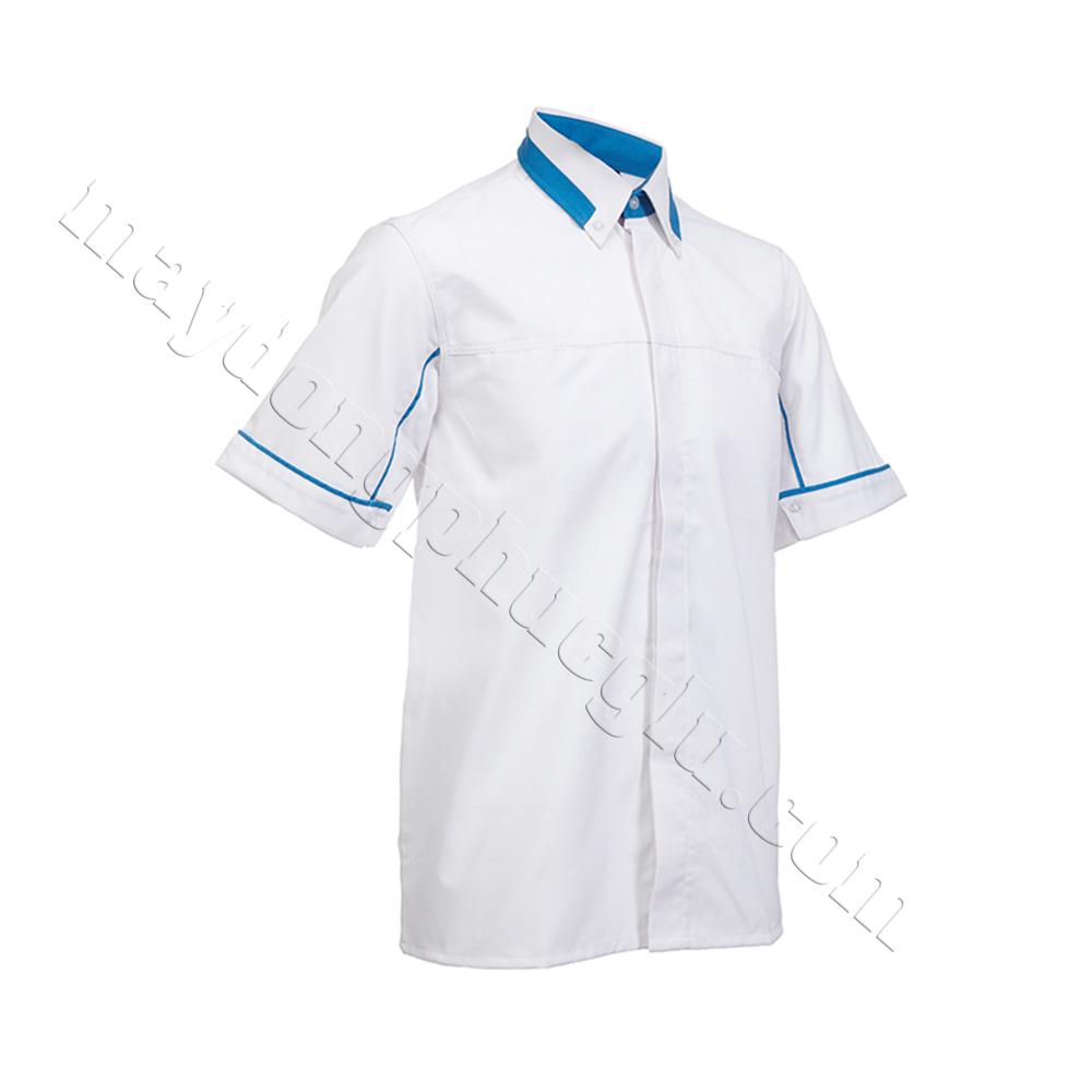 Sơ mi đồng phục thân trắng phối xanh lam ở cổ cáo và đường gân xanh ở tay áo