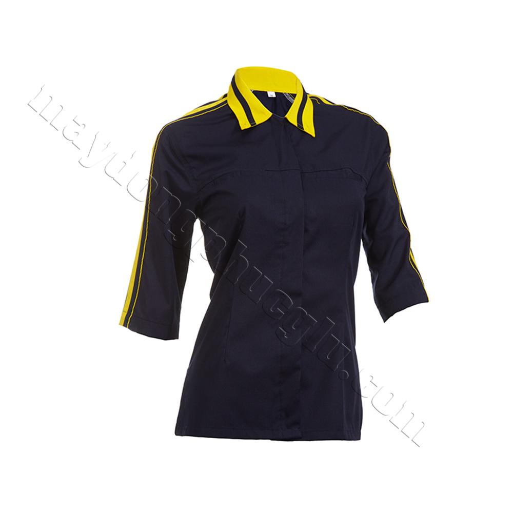 Sơ mi đồng phục nữ xanh đen phối bo cổ vàng xanh dệt 2 đường, có đường gân vàng chạy dọc tay áo lửng