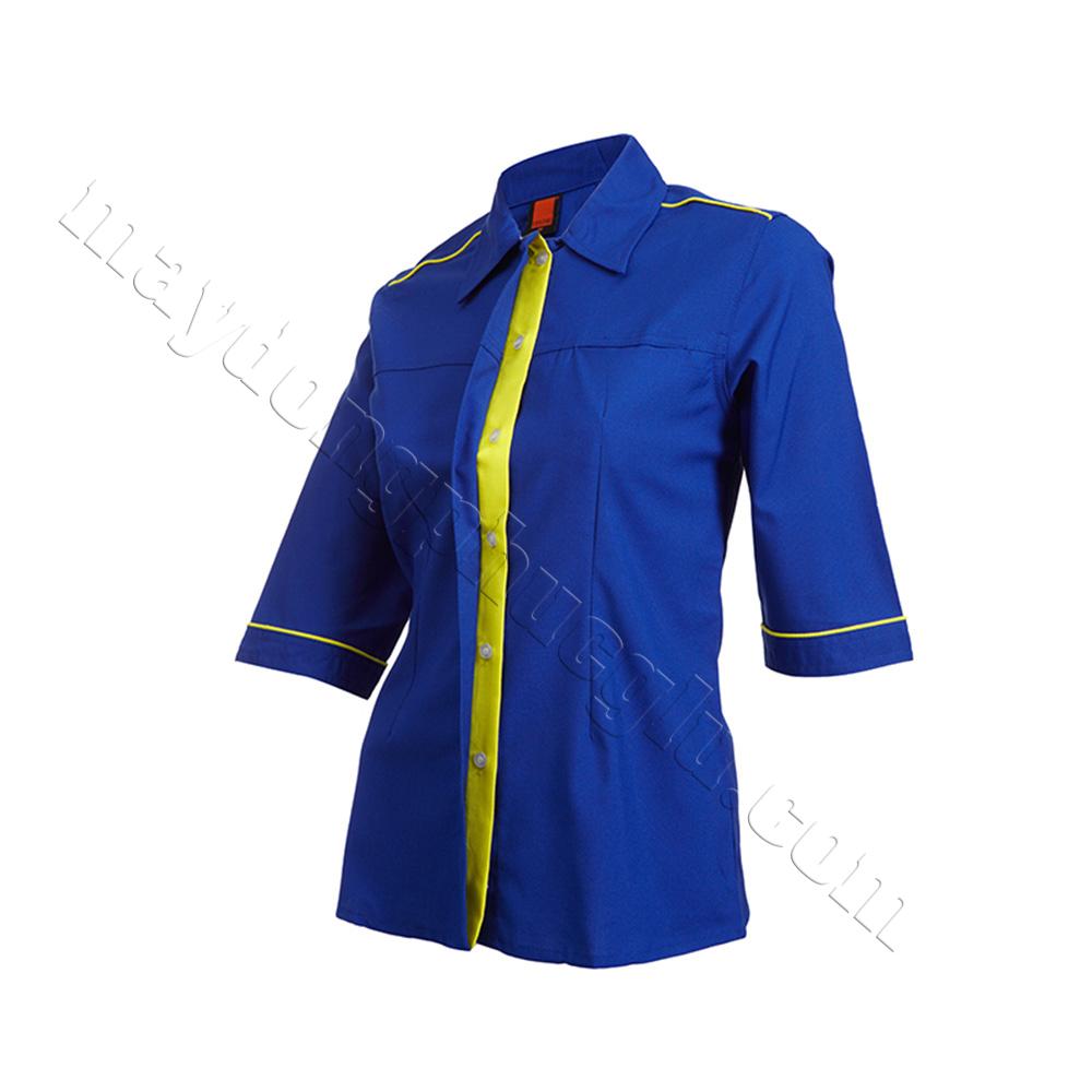 Sơ mi đồng phục nữ xanh phối các đường gân vàng ở vai áo và 2 bo tay