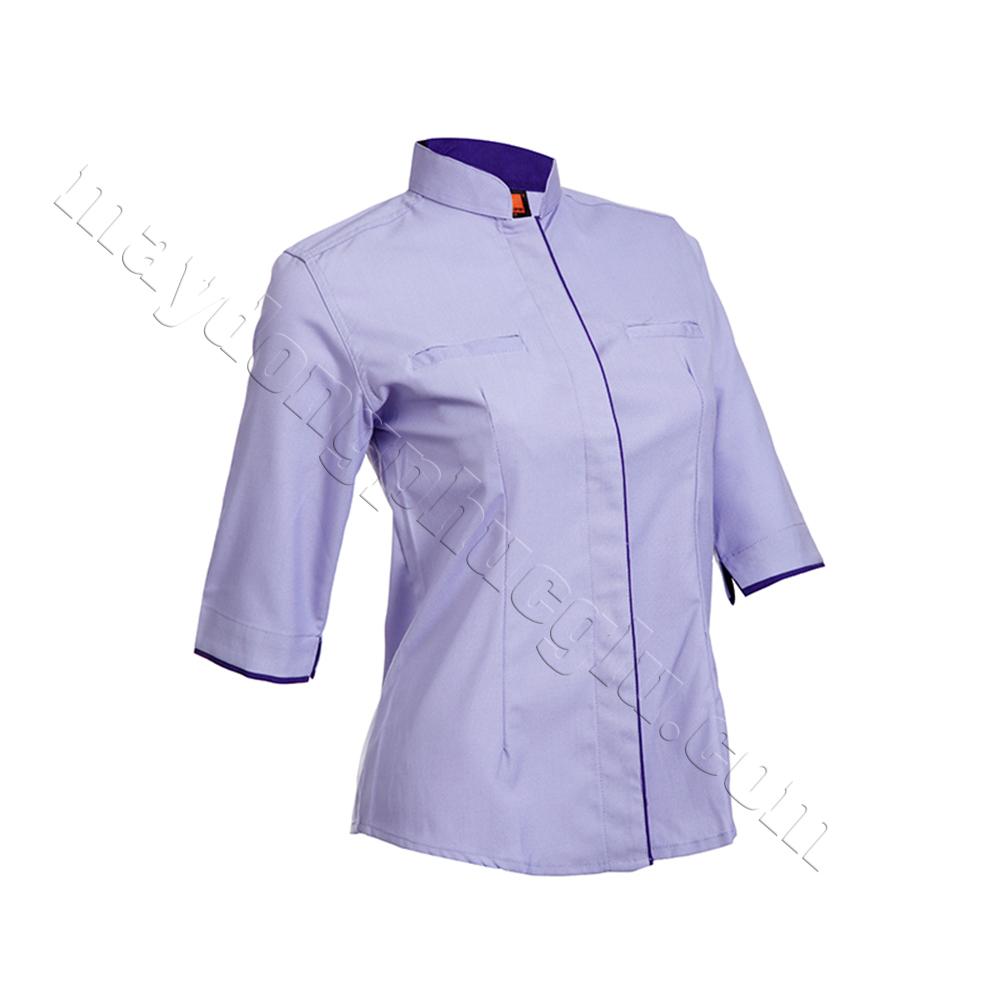 Sơ mi đồng phục nữ xanh trắng phối đường gân xanh lam ở trụ áo và bo tay