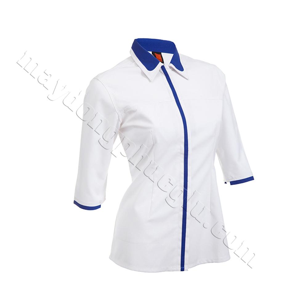 Sơ mi đồng phục nữ trắng phối xanh lam ở cổ táo, trụ áo và 2 bo tay