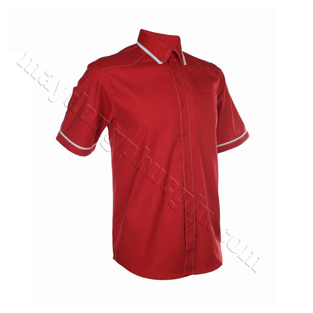 Sơ mi đồng phục đỏ đô phối cổ và tay bo có viền trắng