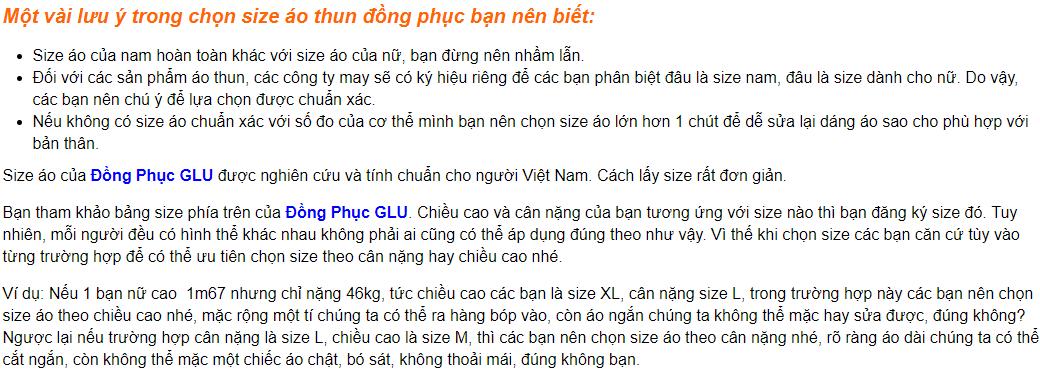 Screenshot 9 cách đo size áo thun