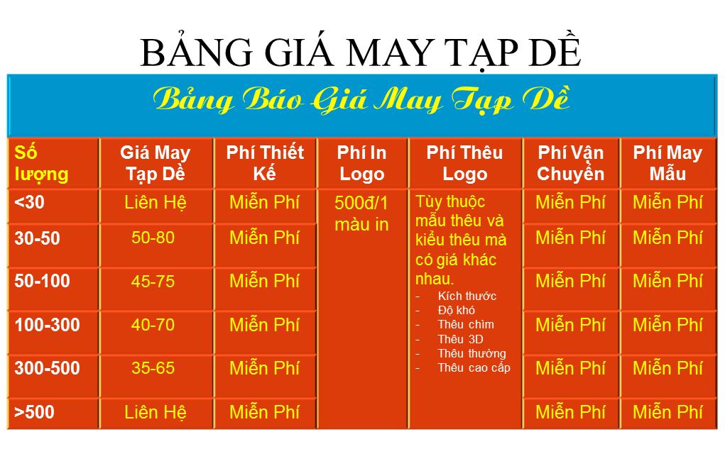 BANG GIA MAY TAP DE 2018 DONG PHUC GLU