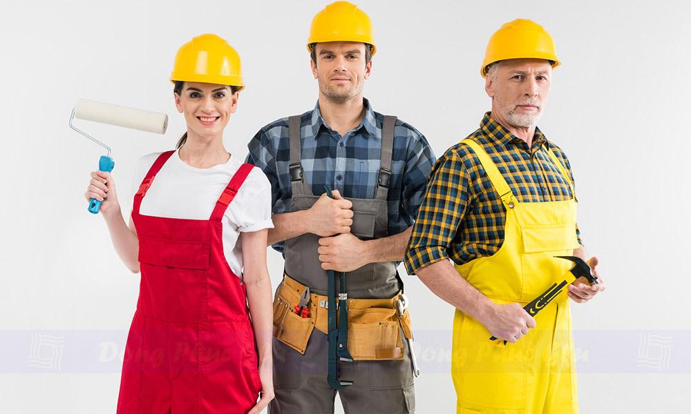 May quần áo công nhân với thiết kế riêng