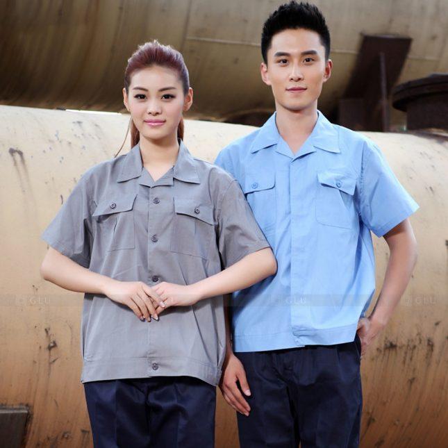 Quan ao dong phuc bao ho GLU X1077 đồng phục công nhân cơ khí