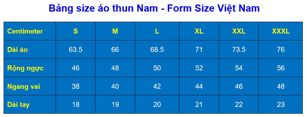 Bang size ao thun nam   Viet Nam
