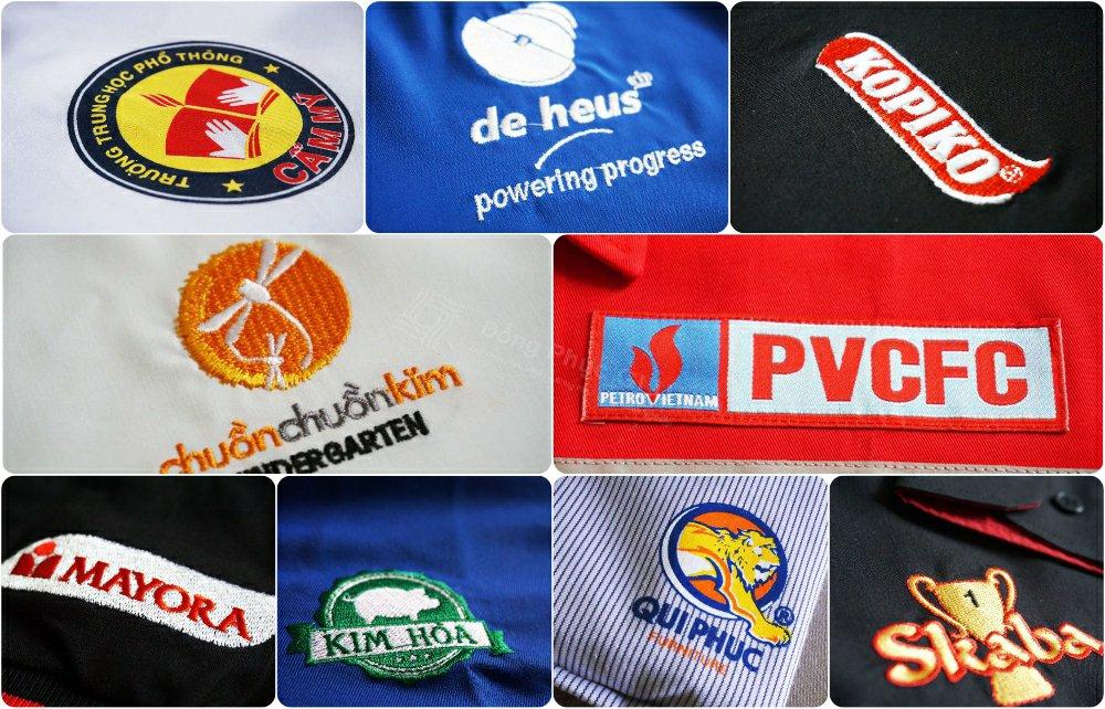 Logo thương hiệu các công ty được in thêu trên áo đồng phục